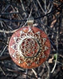 orgonit, orgonitový šperk, orgonity, sowulo, semeno života, symbol, posvátná geometrie, karneol, plodnost, šperky, orgonitový šperk, alternativní, ezoterický