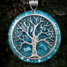 Orgonit, Horovo oko, Orgonite, Orgone, orgonitový šperk, orgonitový přívěšek, strom života, modrý apatit, orgonitový, posvátná geometrie, Apatit